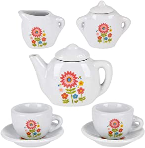 ArtCreativity Mini Porcelain Tea Set for Kids - Ceramic Pretend Play Set - Miniature Saucers, Cups, Teapot, Sugar and Cream Dispenser - Best Holiday or Birthday Gift for Boys and Girls Ages 8+