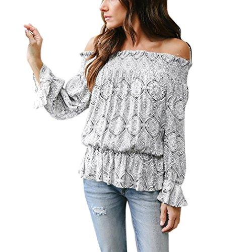 Blouse, Forthery 2018 Summer Women's Off Shoulder Floral Tie Crop Shirt Tops (Black, M)