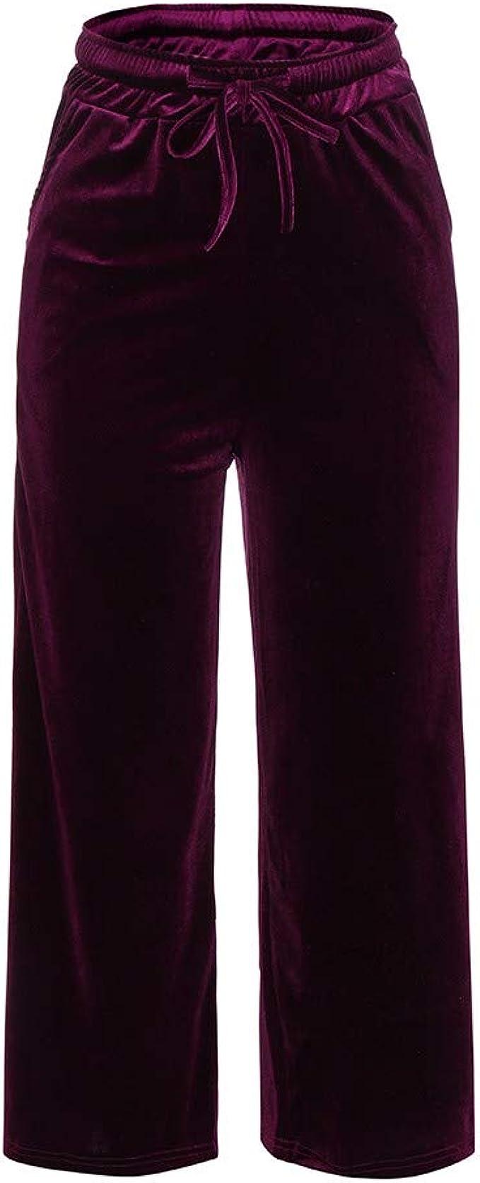 Sylar Pantalones Para Mujer Talla Grande Color Solido Terciopelo Cintura Alta Pantalones Casuales Otono Pantalones De Haren Pantalones De Pierna Ancha Amazon Es Ropa Y Accesorios