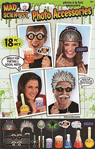Mad Scientist 18 Piece Laboratory Spooky Creepy Halloween Fun Photo Booth Props Selfie -