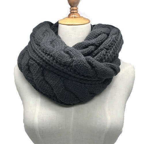 Womens Soft Thick Ribbed Knit Winter Infinity Circle Loop (Wide Cowl)