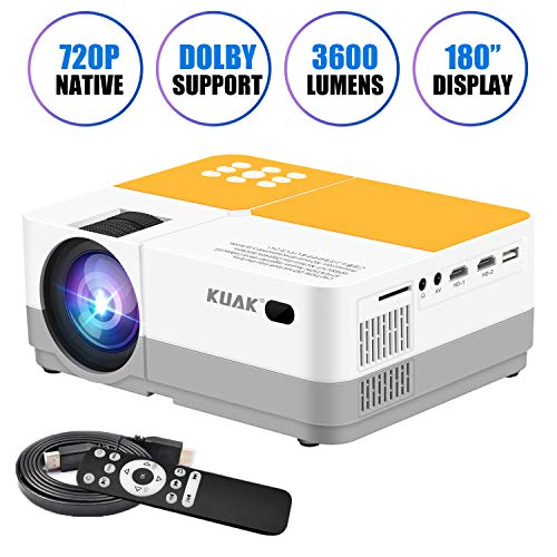 - Projector, KUAK Native 720P Mini Portable Movie Projector, LCD HD Video Projector Support Full HD 1080P, Home Theater Projector with 180
