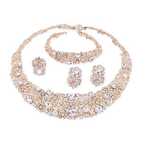 OUHE White Crystal Chain Necklace Ring Bracelet Jewelry Set Costume Show Wedding Gold Plated