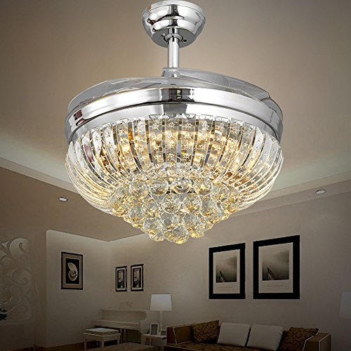 - Huston Fan Modern Crystal Ceiling Fan Light with 4 Retractable Blade for Indoor Bedroom Living Room LED Chandelier Fan,3 Color Change-White Warm Neutral,3 Speed,2 Down Rod,42 Inch Chrome Silver