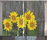 Ambesonne Sunflower Decor Curtains 2 Panel Set, Helianthus Sunflowers Against Weathered Aged Fence Summer Garden Photo Print, Living Room Bedroom Decor, 108 W X 84 L Inches, Brown Yellow Green