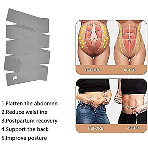 Wrap Lumbar Waist Support Belt - Bandage Wrap for Women - Invisible Wrap Waist Trainer Tape - Women Slimming Tummy Wrap Belt - Back Support Belt For Lower Back Pain Relief (Gray-3M)