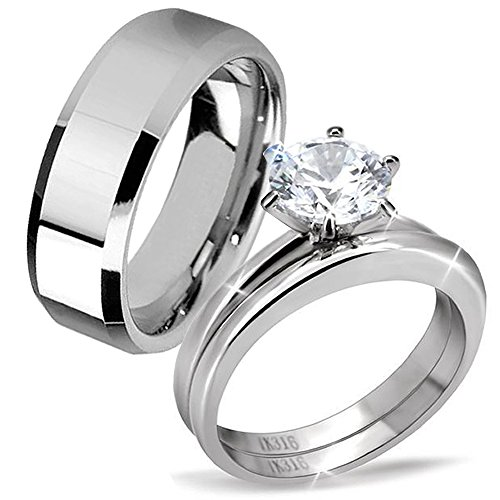 His Hers 3 Pcs Stainless Steel Men's Band Women Simulate Diamond Cubic Zirconia Round Cut Wedding Engagement Ring