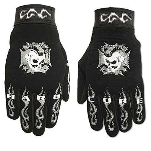 Hot Leathers Hardcore Mohawk Mechanic Gloves (Black, Large) by Hot Leathers