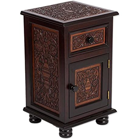 NOVICA Floral Leather And Wood Accent Tables Brown Fantastic Vase