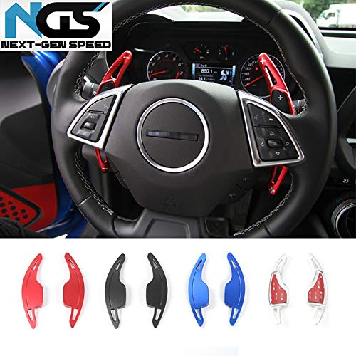 Paddle Shifter Cover Extensions | 16-19 Chevy Camaro | 14-19 Chevy Corvette | LT,RS,SS, ZL1 | Base, Stingray, Grandsport, Z06, | Pedal Paddle Shifters | Steering Wheel Covers (Red) ()