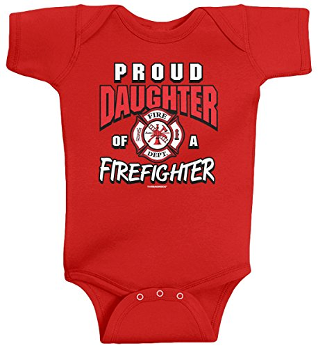 Threadrock Baby Girls' Proud Daughter of a Firefighter Infant Bodysuit 6M Red