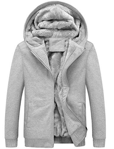 Yeokou Men's Winter Thicken Fleece Sherpa Lined Zipper Hoodie Sweatshirt Jacket (Large, Grey)