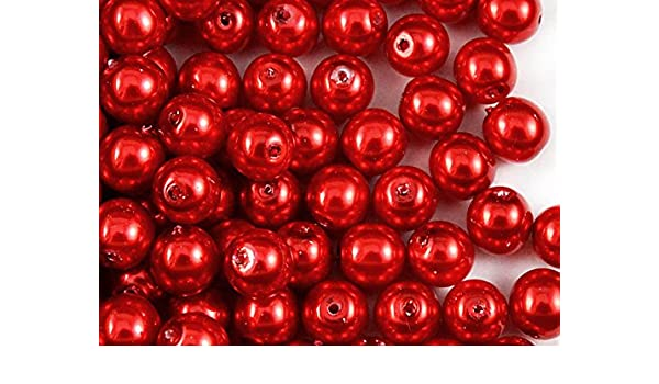 30pcs Czech Glass Beads with a Pearl Coating Estrela Round 8mm Red Pearl
