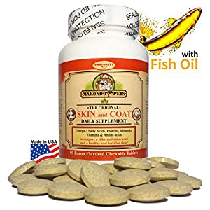 Skin and coat supplement for dogs and cats for Fish oil pills for dogs