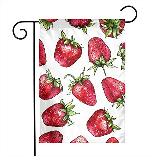 "Life shop Strawberries Art Garden Flag Yard Flag 12"""" x 18"""" Home Decorative House Flag,Banners for Patio Lawn Outdoor"