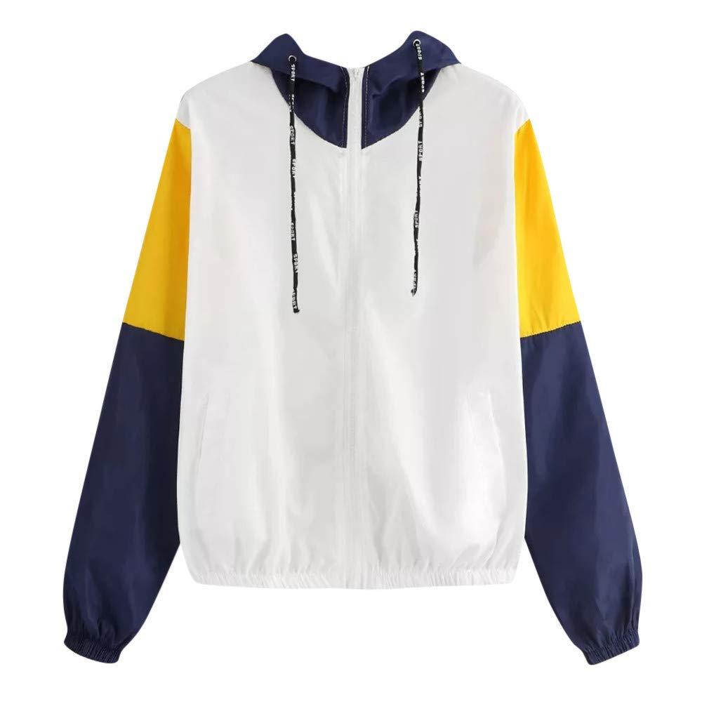 Eduavar Women Hoodies Women Long Sleeve Thin Jacket Hooded Zip Splicing Colour Pockets Sport Coat for Women