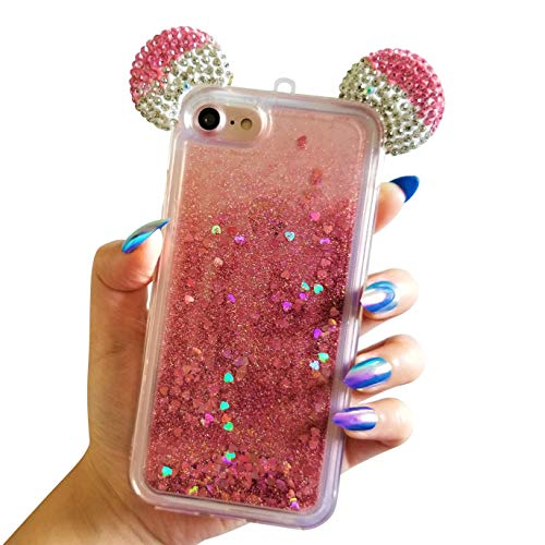 for iPhone 7 4.7 for iPhone 8 4.7 Floating Holographic Hearts Minnie Mickey Ears Liquid Waterfall Glitter Quicksand Disney Back Cover Case (Pink)