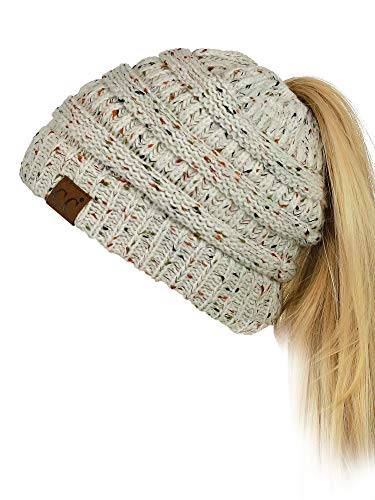 Stretch Cable Knit Messy High Bun Ponytail Beanie Hat, Confetti Oatmeal ()