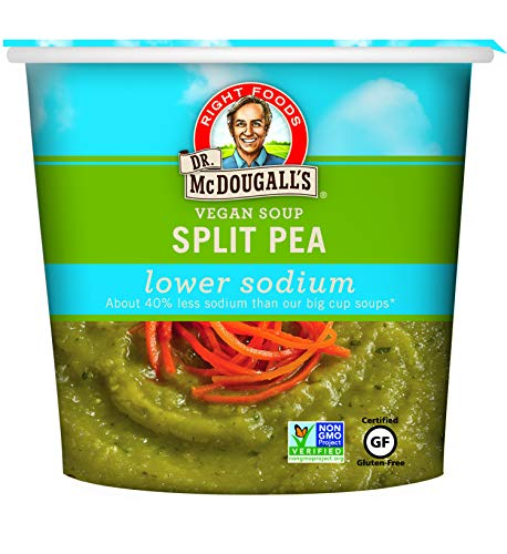 Dr. McDougall's Right Foods Vegan Split Pea Soup Lower Sodium, 1.9 Ounce Cups (Pack of 6) Gluten-Free, Non-GMO, No Added Oil, Paper Cups From Certified Sustainably-Managed Forests