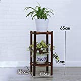 JZX Plant Stand, Solid Wood Retro Flower Pot Rack