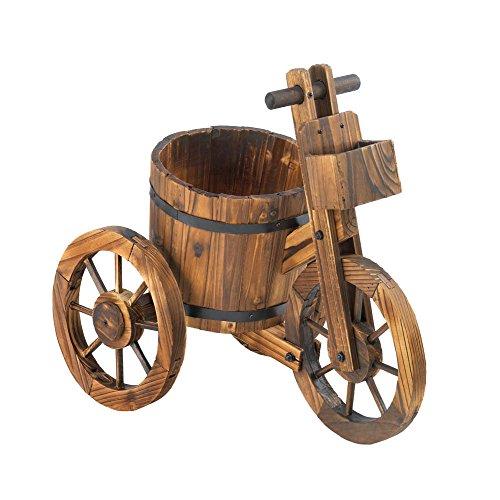 Summerfield Terrace 10015794 Rustic Wood Barrel Tricycle Planter Multicolor