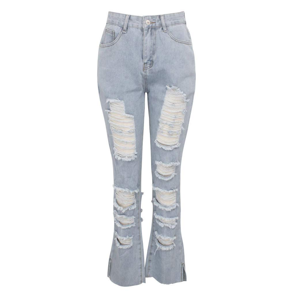 Women Destroyed Ripped Distressed Skinny Jeans Juniors Classic Stretch Bootcut Pants by VEZAD Store