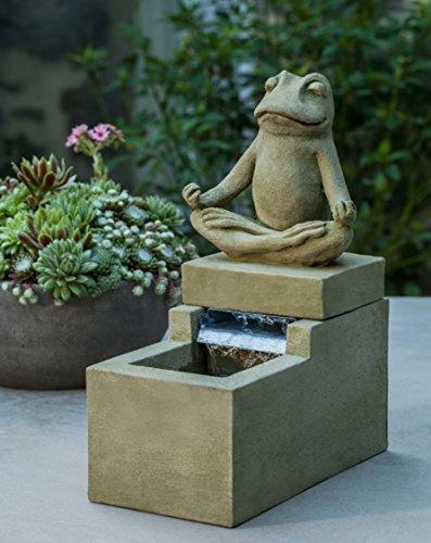 Campania International FT-253-EM Mini Element Zen Frog Fountain, English Moss - Element Garden Fountain