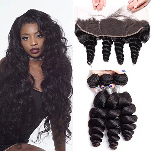Maxine Hair Brazilian Loose Wave 3 Bundles With Lace Frontal 13x4 Ear To Ear Free Part Virgin Human Hair Extensions Natural Color(26 26 26 with (Maxine On Halloween)