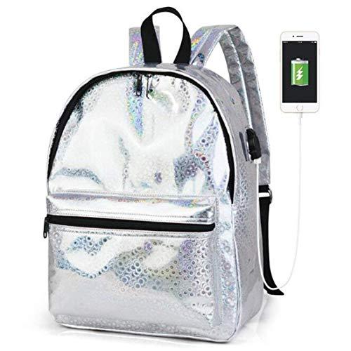 Vrouw Meisje Silver Yisaesa Rugzak kleur 4 Leer Schooltas 9 3 USB Oplader Laser Holografisch HXqf0SqA