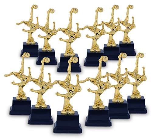 Juvale Soccer Trophy - 12-Pack Gold Trophy - Plastic Trophies Award Recognition for Soccer Players, Coaches for Kids Sports Tournaments, Competitions - Bicycle Kick Pose, 2.6 x 2.6 x 6.8 Inches (Trophy Gold Figure)