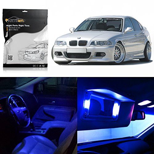 2001 Bmw E46 - Partsam 1999-2005 BMW E46 Sedan Wagon Coupe Blue Interior LED Light Package Kit (7 Pieces)