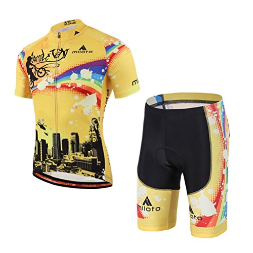 Uriah Men's Cycling Jersey and Shorts Sets Short Sleeve Reflective Rainbow City Size L(CN) ()