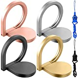 4Pcs Water-Drop Ring Holder with 2 Hang Ropes, FineGood 360° Rotation Universal Finger