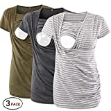 Jinson 3 Packs Women's Ruched Side-Shirred Nursing Top Short Sleeve Breastfeeding Tee Shirt