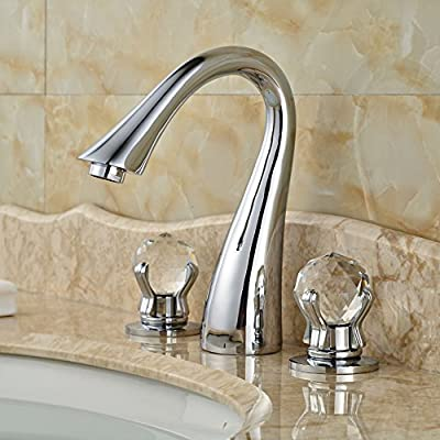 Senlesen Widespread 3pcs Bathroom Sink Faucet Deck Mount Crystal Dual Knobs Mixer Tap Chrome