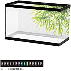 "Jinguizi BambooFish Tank BackdropBamboo Leaf Illustration Icon for Wellbeing Health Fresh Purity Tranquil Art Print72 L X 24"" H Green WhiteAquarium Background"