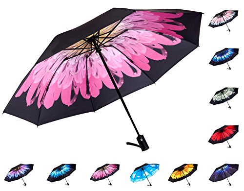 Fidus Reverse/Inverted Automatic Windproof Folding Travel Umbrella - Compact Lightweight Portable Outdoor UV Protection Golf Umbrella For Women Men Kids-pink flower (Kids Pink Folding Umbrella)