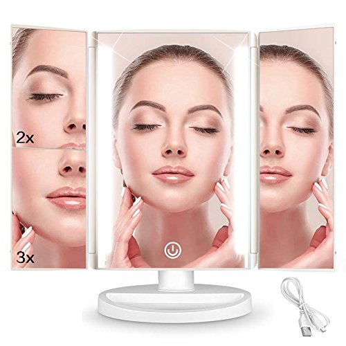YINUO LIGHT Led Makeup Vanity Mirror with 36 LED Lights,Tri-Fold 2x 3x Magnifying Led Mirror with Touch Screen, 180 Degrees Rotation,Dual Power Supply,Countertop Cosmetic Mirror by YINUO LIGHT