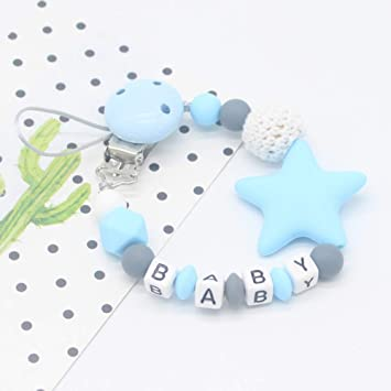 Infant Teething Toys Chewable Beads Handmade Shower Gift Purple Colorful Silicone Teething Dummy Clip Teether Chew Chains Baby Pacifier Clips Soother Chain