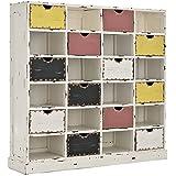 CLP Vintage-Regal TETJE aus Mahagoniholz | Handgefertigtes Highboard mit 12 Schubladen | Mehrfarbige Kommode Weiß