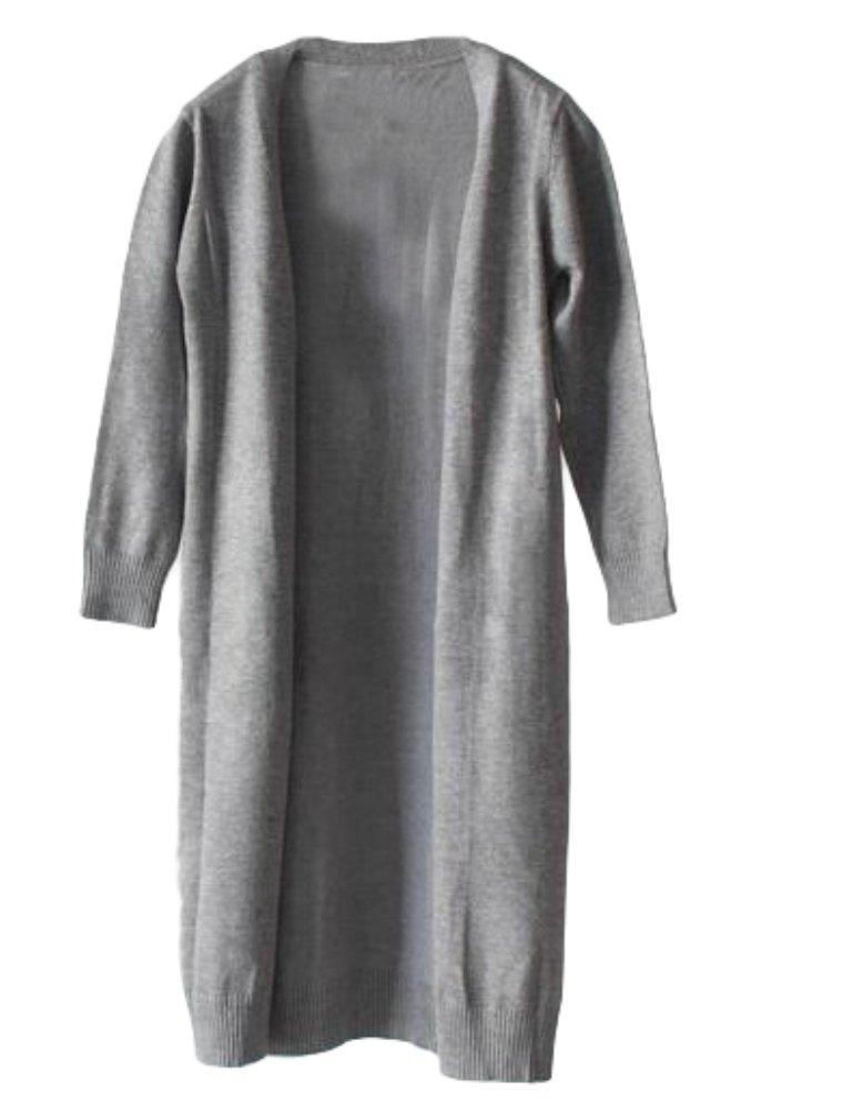 Mallimoda Girl's Long Sleeve Open Front Knit Cardigan Long Sweater Coat Grey 4-5 Years