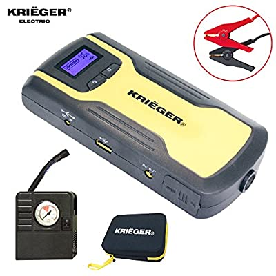 $59.99 Deal Ends 12-22-16- KRIËGER 11100mAh UL Lithium ion battery - Jump Starter, Power Bank with Portable Tire Inflator Air Compressor, Light and Compass, built in USB charger and LCD screen.