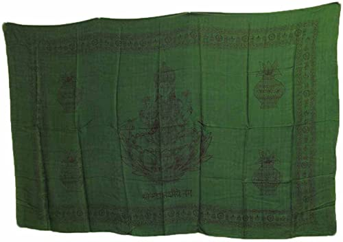 Rajasthan Cottage Hindu Goddess Lakshmi Meditation Yoga Altar Cloth Prayer Shawl 43 x 66 Green