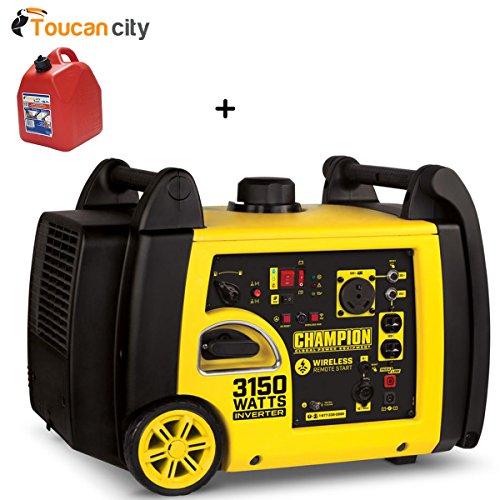 Toucan City Gas Can and Champion Power Equipment 3150-Watt Gasoline Powered Wireless Remote Start Inverter Generator with Champion 171cc 4-Stroke Engine 100477