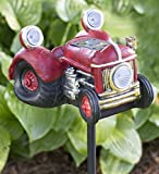 Red Solar LED Antique Tractor Garden Stake Outdoor Whimsical Yard Decor Resin 8.25 L x 7 W x 47 H