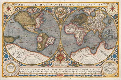 (Historic Map | Orbis Terrae Novissima Descriptio Authore Gerardo Mercatore/Double hemisphere Map of the world, engraved by Jodocus Hondius, 1602 | Vintage Wall Art 44in x 29in)