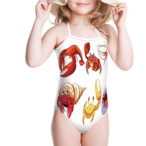 iPrint Swimsuit Animals Like Crab Hermit Crab Lobster Shell for 3-4ages ()