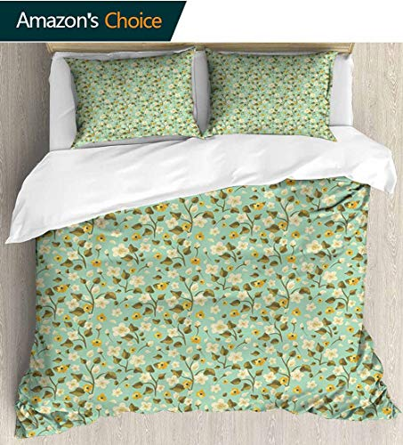 - Green Flower Home 3 Piece Print Quilt Set,Hand Drawn Floral Pattern Ornamental Wildflowers Summer Season Inspirations Patterned Technique King Quilt Set 80