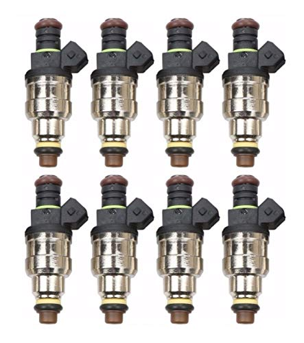 (Re-Manufactured Upgraded 4 Hole Nozzle OEM Bosch Set of 8 Fuel Injectors For 1996 1997 1998 1999 2000 GMC Chevrolet C2500 C3500 7.4L)