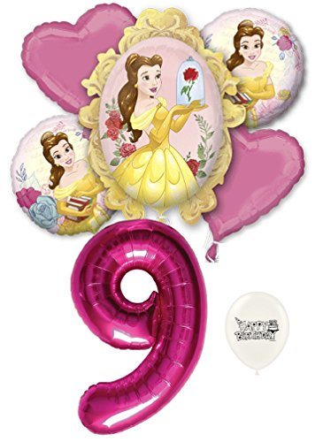 Birthday Beauty Bouquet - 9th Birthday Beauty and the Beast Belle Party Decorations Balloon Bouquet Bundle